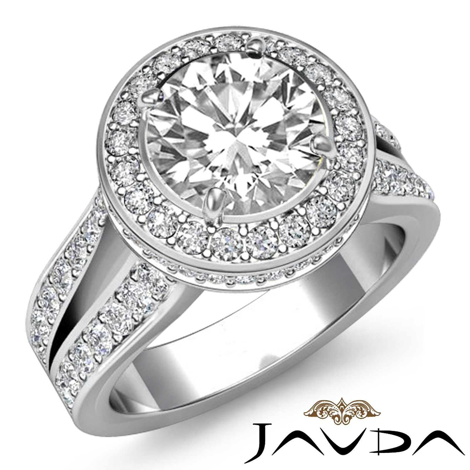 Circa Halo Split Shank Round Shape Diamond Engagement Pave Ring GIA F VS2 2.8 Ct