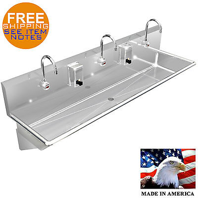 Wash Up Hand Sink 3 Users Multi Station 60 Elec. Faucet Stainless Steel Heavy D