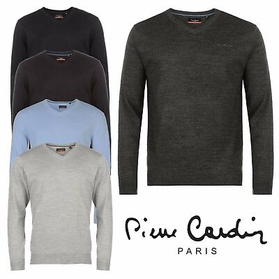 Mens V Neck Jumper Knitted Sweater Pierre Cardin Top Casual Pullover Knitwear