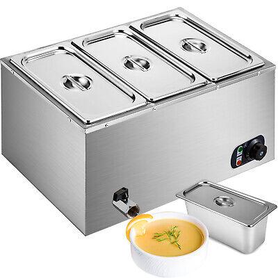 Food Warmer Bain Marie Steam Table Steamer Wet Heat 3-pan Heavy Gauge Pans 850w