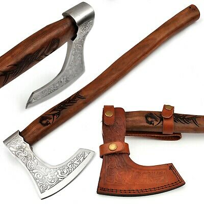 Ancient Traditions Medieval Viking Bearded Battle Axe Engraved Dragon Handle A