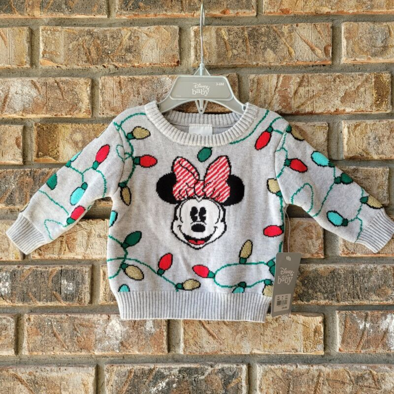 Disney Store Baby Minnie Mouse Christmas Lights Sweater Sz 3-6 Months Infant NEW