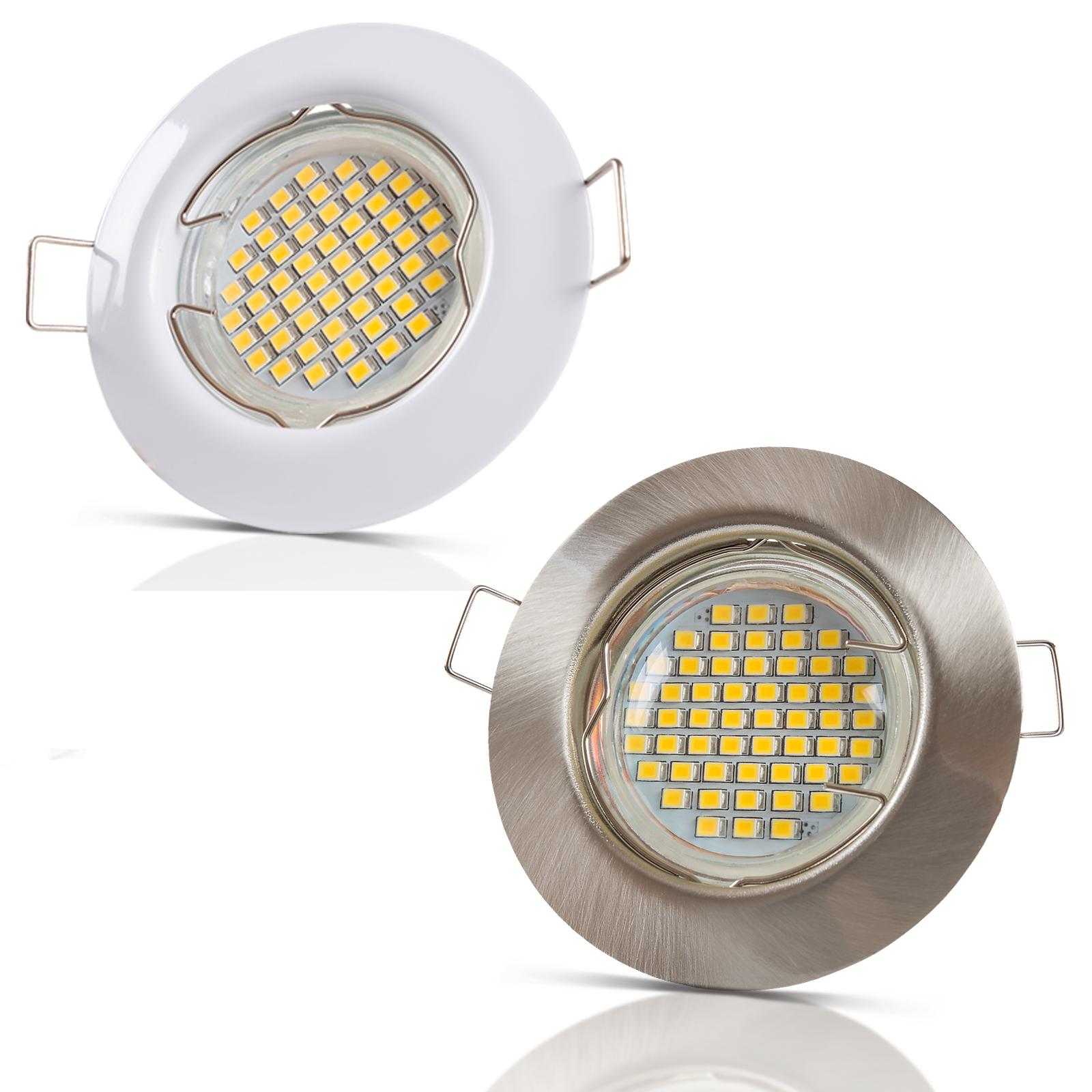 3W LED Einbaustrahler GU10 Set 230V SMD Einbauspot Einbaurahmen Einbauleuchten
