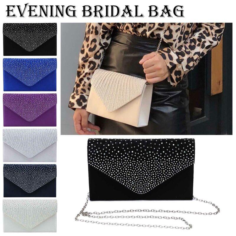Damen Abendtasche Glitzer Envelope Umhängetasche Handtasche Clutch Kettentasche