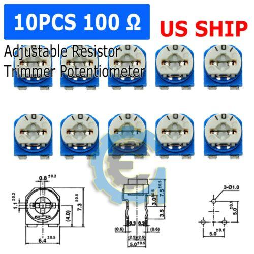 10pcs 100ohm 101 Adjustable Resistor Trimmer Potentiometer RM065 - US Seller