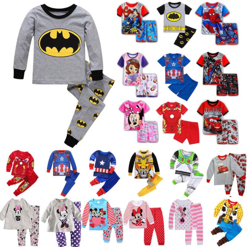Kinder Jungen Mädchen Schlafanzug Pyjamas Tops Hose Karikatur Nachtwäsche Sets