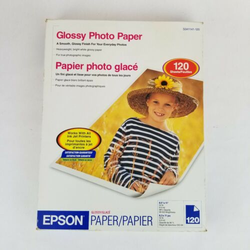 """Epson Glossy Photo Paper 8.5"""" x 11""""  120 Sheets S0411411-120 New Open Box"""