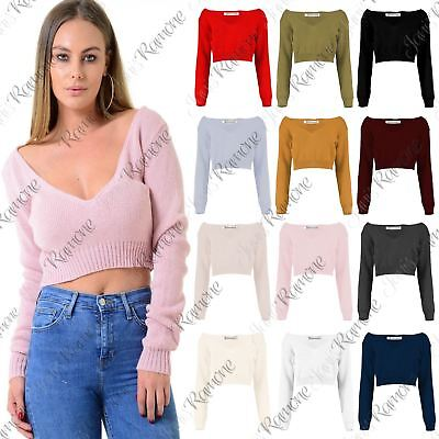 New Womens Off Shoulder V Neck Knitted Cropped Long Sleeve Jumper Warm Sweater