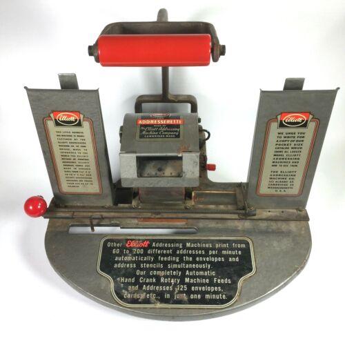Vintage ELLIOTT ADDRESSING MACHINE print envelopes & cards ADDRESSERETTE Machine