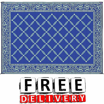 Camping Reversible Mat 9x12' Area Rug Trailer Outdoor Patio Beach RV Accessories