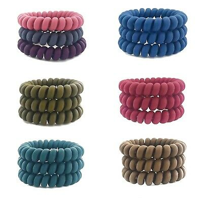Set Of 3 Invisibobble Style Hair Bands Bobbles Various Colours