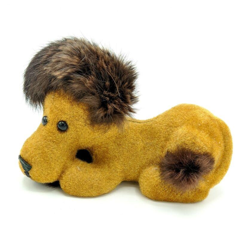 Vintage Fuzzy Textured Lion Bank Fluffy Mane Wild Animal Childs Nursery Decor