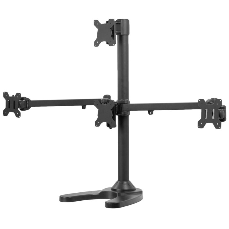 """VIVO Steel Quad Monitor Mount Adjustable 3 + 1 Stand 