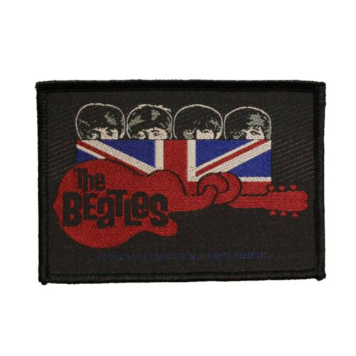 The Beatles Guitar  Union Jack Woven Sew On Battle Jacket Patch - 073-L