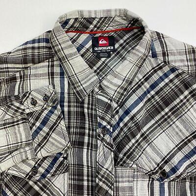 Quiksilver Button Up Shirt Mens 2XL XXL Gray White Blue Green Long Sleeve Plaid