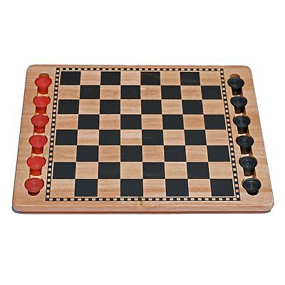 WE Games Solid Wood Checkers Set - Red  Black Traditional Style with Grooves (Solid Wood Checkers)