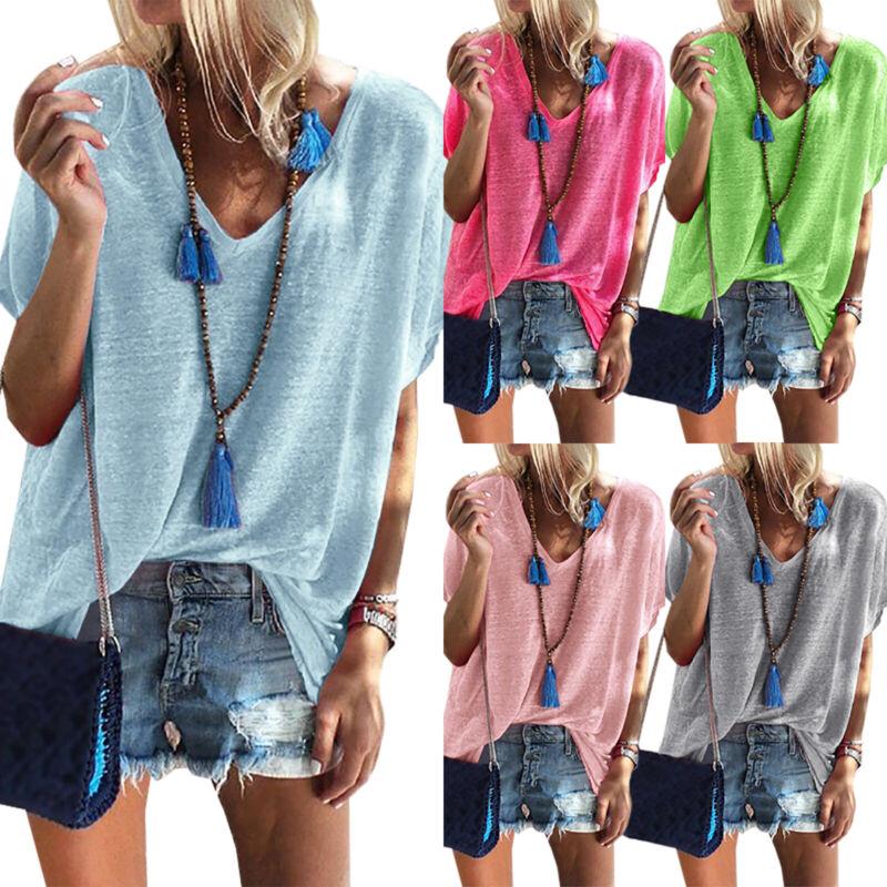 Damen Sommer Kurzarm Shirts T-shirt Bluse V-Ausschnitt Locker Oberteil Top 34-42
