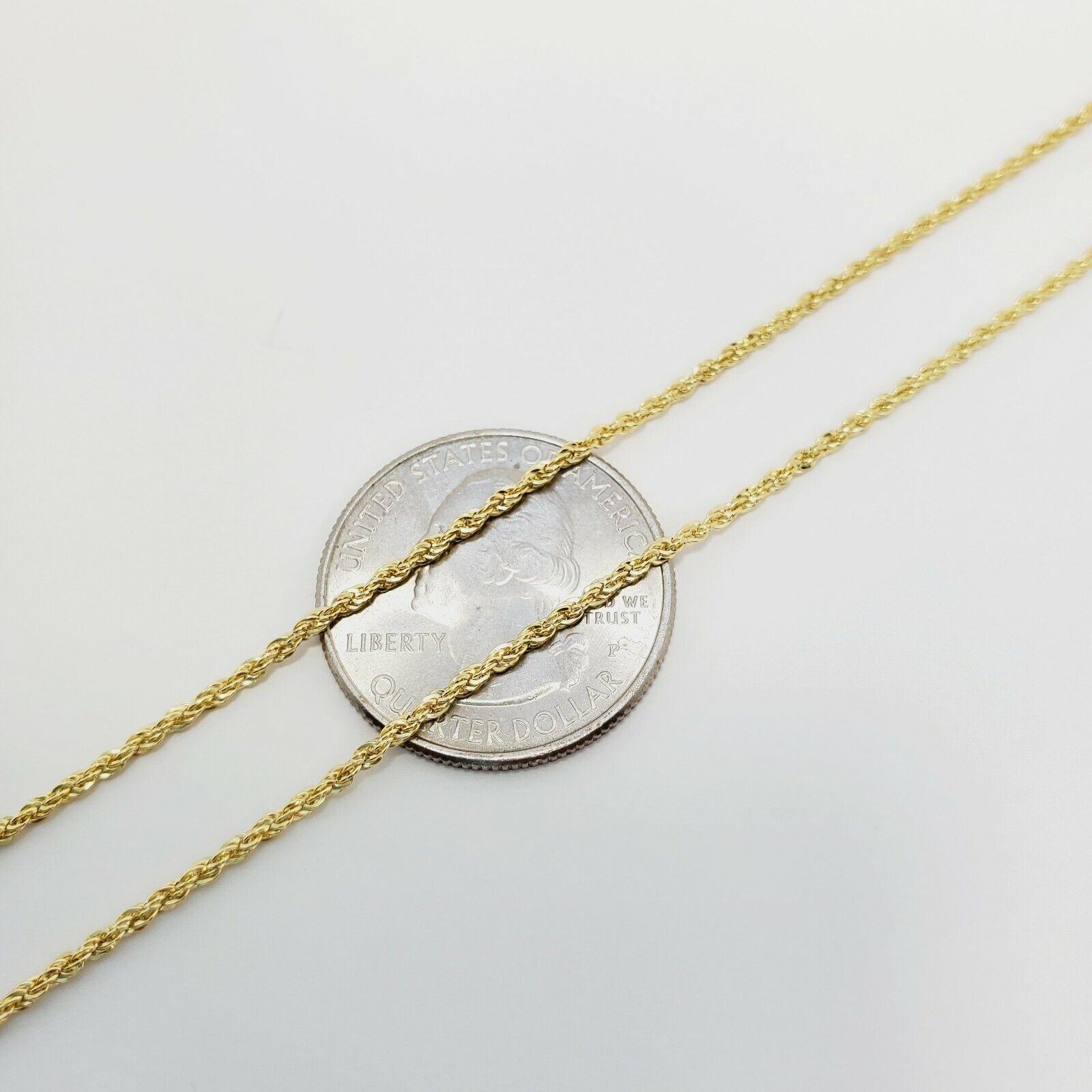"10K Yellow Gold 1.5mm Diamond Cut Rope Chain Pendant Necklace Mens Women 16""-26"" 7"
