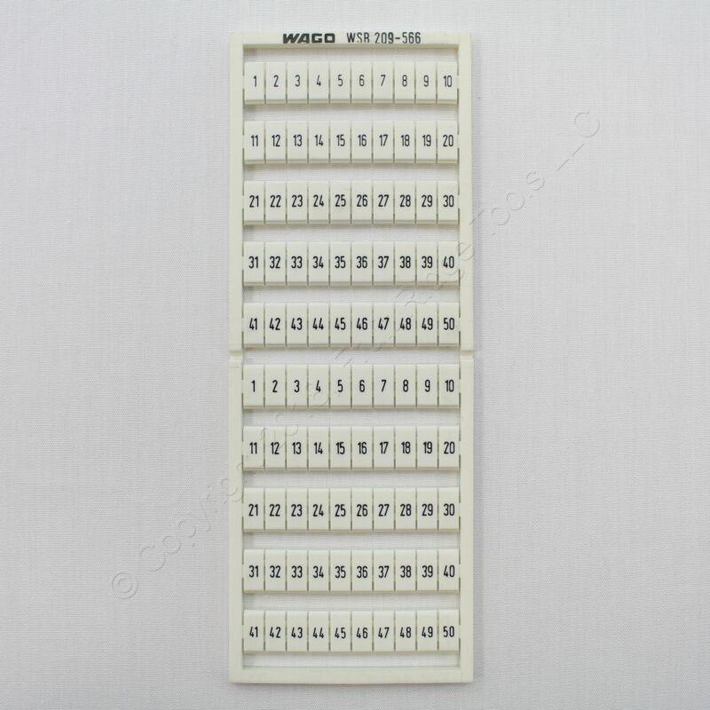 New Wago White Colored Terminal Block Marker Card 1-to-50 Horizontal WSB 209-566