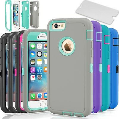 Rubberized Protector Case (Protective Hybrid Shockproof Hard Case Cover For Apple iPhone 6 6S & 6 6S Plus )