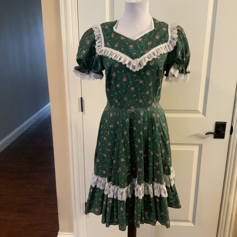 Vintage Partners Please Square Dance Dress Malco Modes  Sz12 Green Made In USA