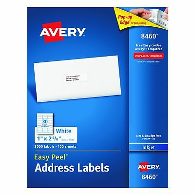 Avery Easy Peel Address Labels For Inkjet Printers 1 X 2-58 Box Of 3000
