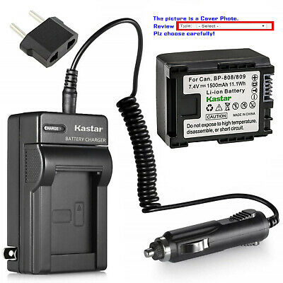 Kastar Battery AC Travel Charger for OEM Canon BP-809 & Original Canon CG-800