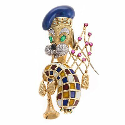 18K Gold Scottish Terrier Diamond & Enamel Bagpiper Pin