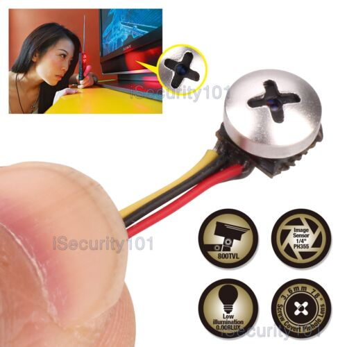 Mini Micro Spy Camera Cam Screw Pinhole Hidden Button Home C