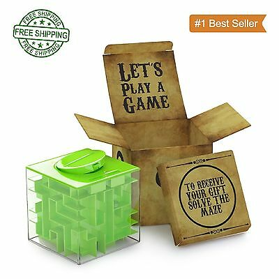 Money Maze Puzzle Box Kids Adults Money Coin Bank Fun Game Cheap Safe Gift Idea