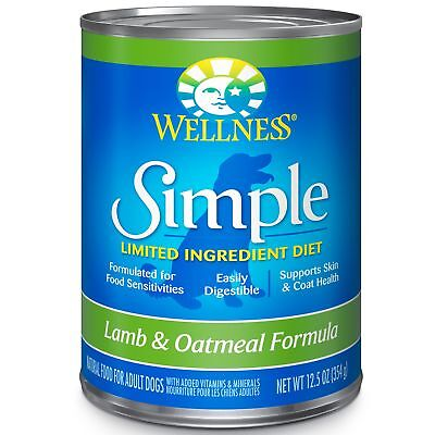 Wellness Simple Natural Wet Canned Limited Ingredient Dog Food, Lamb  Oatmeal,