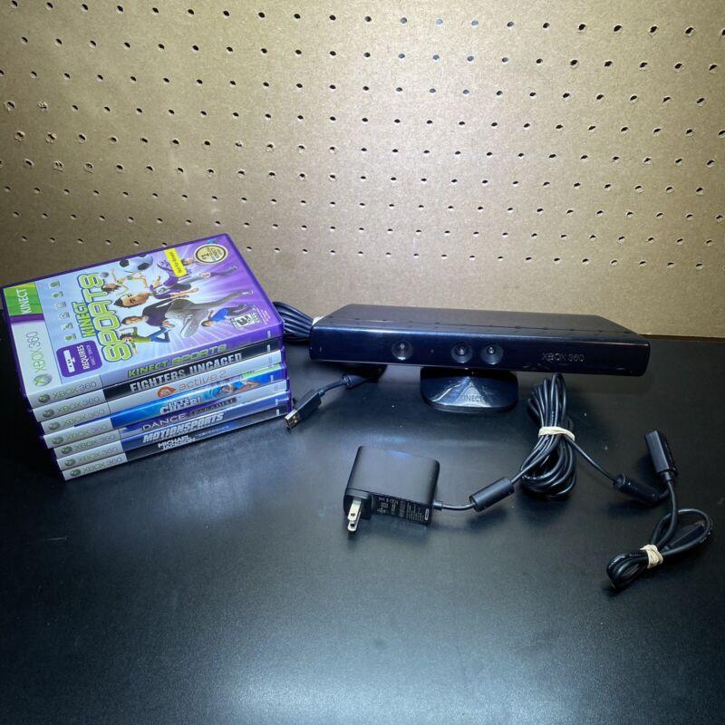 Microsoft 1414 Xbox 360 Kinect Sensor Bar With Adapter + 7 Games Bundle - Tested