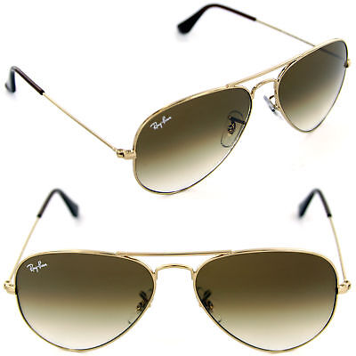 Authentic Ray-Ban RB3025 001/51 55mm Aviator Arista Gold / Brown Gradient (Ray Ban 3025 Gold Brown Gradient 55mm)