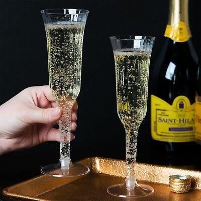 (120 CUPS) CHAMPAGNE FLUTES 5 oz PLASTIC ELEGANT STEM TWO PIECE WEDDINGS/PARTIES - Elegant Plastic Cups