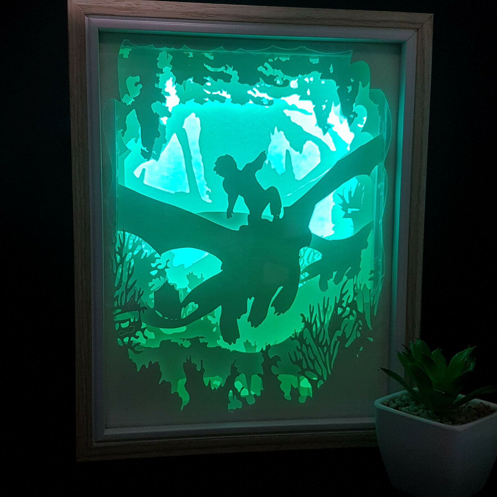 DRAGONS   inspired papercut shadow box, night light - DIGITAL TEMPLET PDF,SVG...