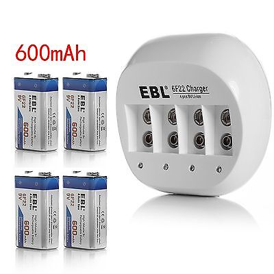 6F22 Charger For 9V Rechargeable Battery + 4pcs Li-ion  9V 600mAh Battery NEW on Rummage