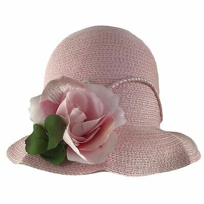 1950s Hats: Pillbox, Fascinator, Wedding, Sun Hats Vintage 1950s 1960s Women's Hat Frank Olive Pink Straw Cloche Floral Trim $38.25 AT vintagedancer.com