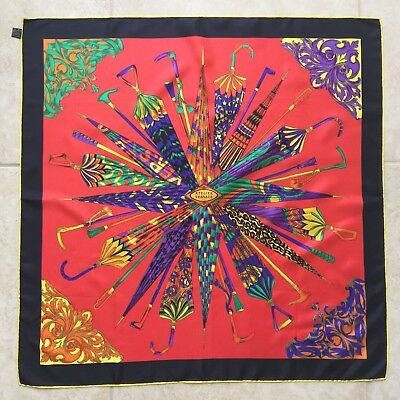 "ATELIER VERSACE red silk scarf w/ gold accents The Happy Umbrellas size 34"" 1991"