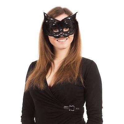 Mens Masquarade Masks (CAT WHISKERS MARABOU FEATHER GOTHIC MASQUARADE  - fancy dress)