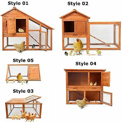 Wooden Chicken Coop Hen Rabbit Small Animal Pet Poultry W/Run Hutch Cage House