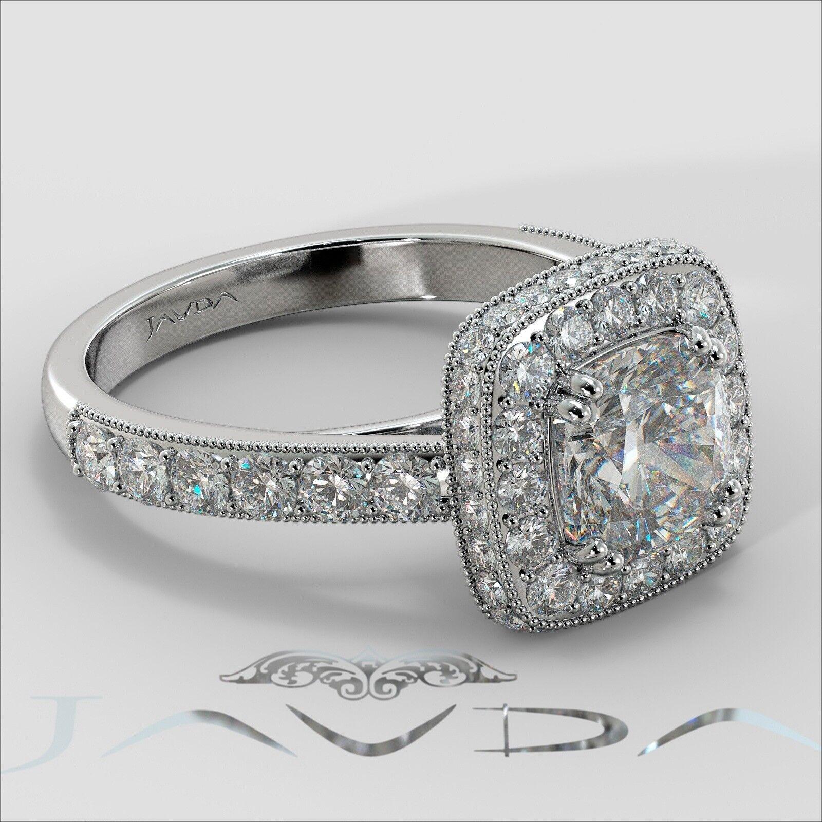 2ctw Milgrain Halo Floral Basket Cushion Diamond Engagement Ring GIA H-VS2 Gold 2