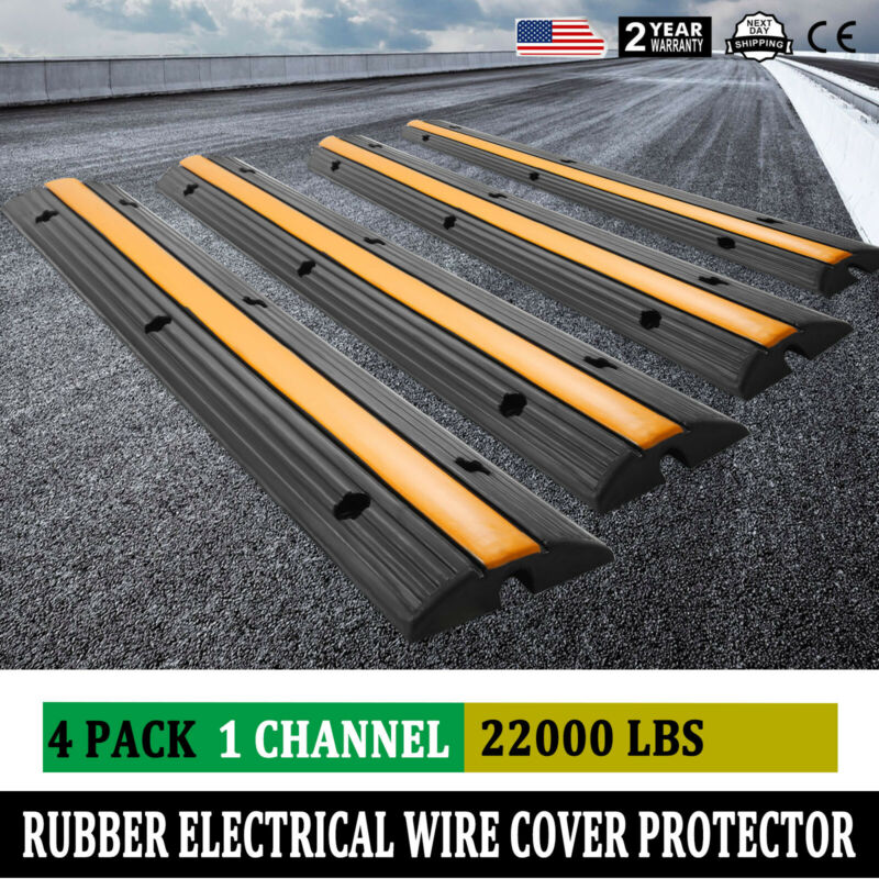 Cable Protector Ramp 4Pcs Rubber 1 Channel Wire Cord Cover Ramp Speed Bump