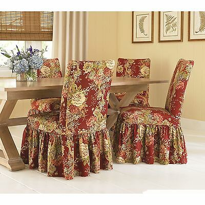dining room chair slipcovers floral design | Sure Fit Waverly Ballad Bouquet Dining Room Chair ...
