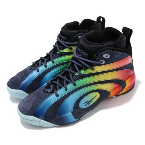 Reebok Shaqnosis Navy Suede Rainbow Shaq Oneal Mens Basketball Shoes FV5063