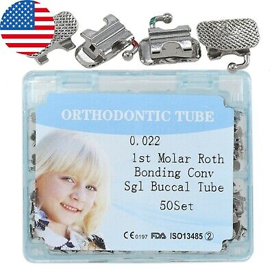 50set Dental Orthodontic Convertible Buccal Tubes Roth 022 First Molar Bondable