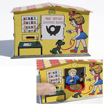 😊 Blechspielzeug - Nostalgie Spardose Post Office Bank Poststation
