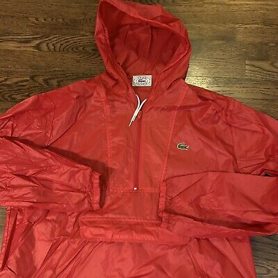 Vintage Izod Lacoste Hooded Red Pullover Windbreaker Jacket Size XL