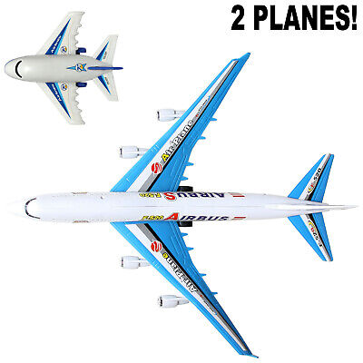 Toy Airplane (SET OF 2 - PLANE TOY A380 JET 763 BIG PULL CORD COMMERCIAL AIRPLANE BABY PLANE)