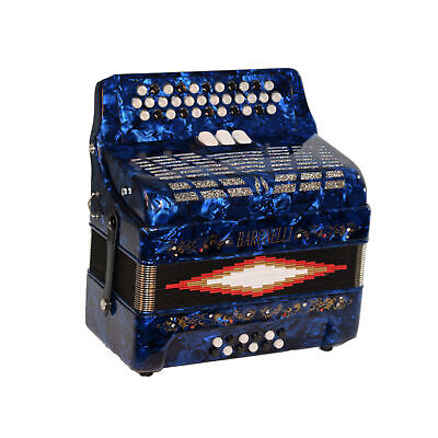 Baronelli 34 Button Accordion 12 Bass, 3 Switch, GCF, With Staps And Case, Blue