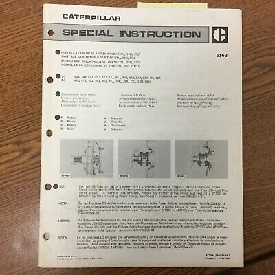Cat Caterpillar 55 56 Towing Winch Installation Manual Guide Instructions D5 D6